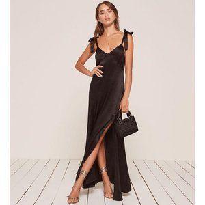 NWT Reformation Tanya Silk Long Maxi Dress w Ties